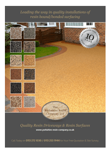 Front page of our PDF Brochure for Resin Bound/Bonded Surfacing