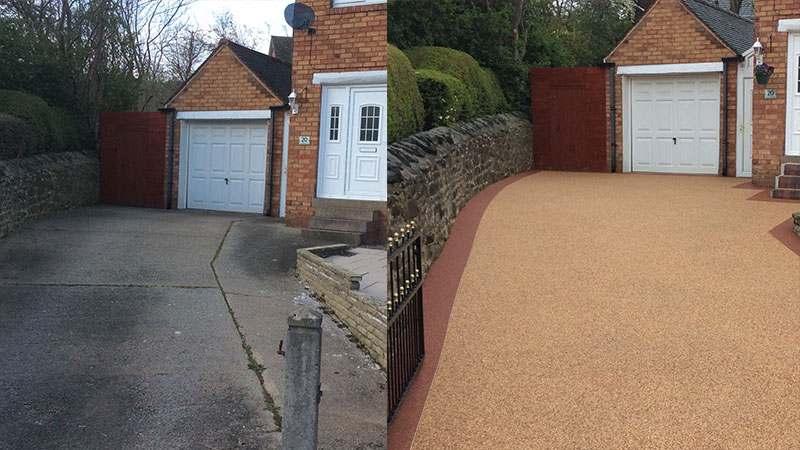 Before and After Image of a Resin Bound Driveway Installation
