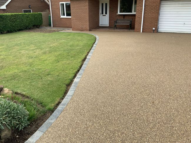 After image of new resin driveway - Sunburst finish