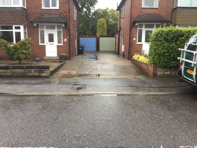 Before image of a double driveway