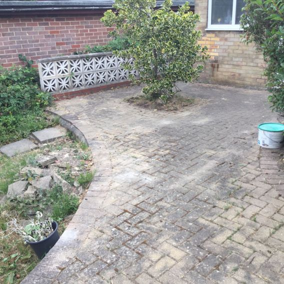 Before image of block paved driveway