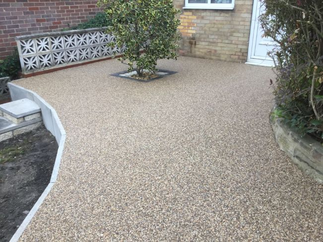 After image of a rustic gold resin driveway Leeds